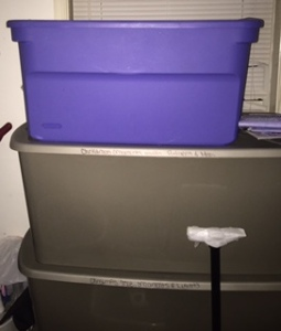 Organized Christmas Décor in Remixed and New Large Plastic Bins in Dad's old room (now storage room)